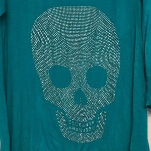 Tops - Women's teal top with bling skull XL